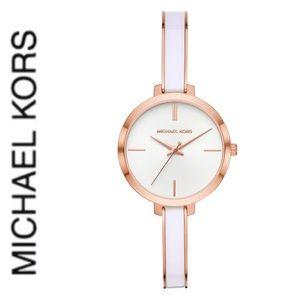 NWT authentic MK Jaryn Quartz White Dial Watch